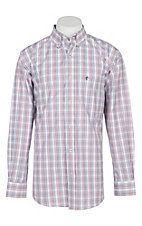 Rafter C Men's White, Red, Light Blue and Black Plaid L/S Western Shirt