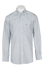 Rafter C Men's White and Blue Circle Print Plaid L/S Western Shirt