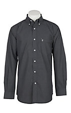 Rafter C Men's White Black and Blue Diamond Print L/S Western Shirt