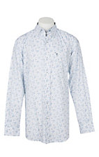 Rafter C ProFlex45 Men's Light Blue and White Paisley L/S Western Snap Shirt