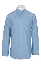 Rafter C Cowboy Collection Men's Blue Small Gingham L/S Western Shirt