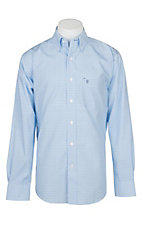 Rafter C Easy Wear 45 Men's Light Blue Grid Print Wrinkle Free L/S Western Shirt