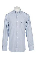 Rafter C Easy Wear 45 Men's Black and Light Blue Windowpane Wrinkle Free L/S Western Shirt