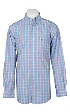 Rafter C Men's Light Blue, Red, and Blue Plaid L/S Western Shirt