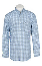 Rafter C Men's White and Blue 3 Line Grid Plaid L/S Western Shirt