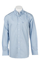 Rafter C Men's Light Blue Micro Print Long Sleeve Western Shirt