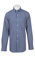 Rafter C Easy Wear 45 Men's Royal Blue and White Grid Print Wrinkle Free L/S Western Shirt