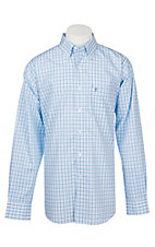 Rafter C Easy Wear 45 Men's White, Turquoise and Blue Plaid Wrinkle Free L/S Western Shirt