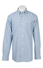 Rafter C Easy Wear 45 Men's Navy and Turquoise Mini Plaid Wrinkle Free L/S Western Shirt