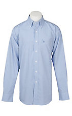Rafter C Easy Wear 45 Men's Blue Grid Print Wrinkle Free L/S Western Shirt
