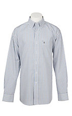 Rafter C Easy Wear 45 Men's White, Black and Blue Grid Print Wrinkle Free L/S Western Shirt
