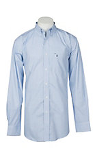 Rafter C Cowboy Collection Men's Light Blue Geo Print L/S Western Shirt