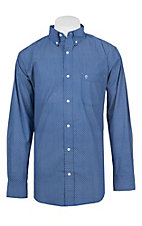 Rafter C ProFlex Stretch Men's Blue and White Diamond Print Long Sleeve Western Shirt