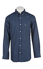 Rafter C Men's ProFlex Stretch Navy and White Geo Print Long Sleeve Western Shirt