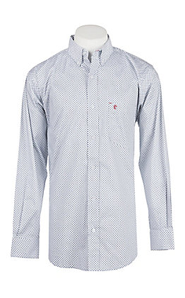 Rafter C Men's ProFlex Stretch White and Navy Circle Print Long Sleeve Western Shirt