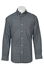 Rafter C Men's ProFlex Stretch Black and Grey Medallion Print Western Snap Shirt