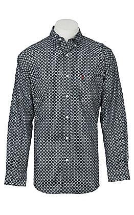 Rafter C Men's ProFlex Stretch Black and Grey Medallion Print Western Snap Shirt