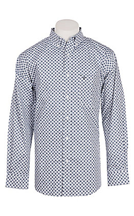 Rafter C Men's ProFlex Stretch White and Navy Medallion Print Long Sleeve Western Shirt