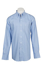 Rafter C Men's Wrinkle Free Light Blue Micro Grid Long Sleeve Western Shirt
