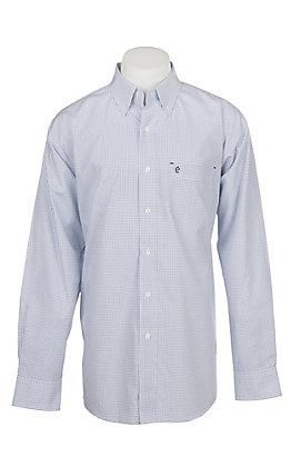 Rafter C Men's Wrinkle Free White and Black Plaid Long Sleeve Western Shirt