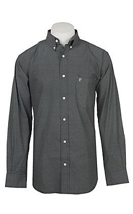 Rafter C Men's ProFlex Khaki Oval Mini Print Long Sleeve Western Shirt