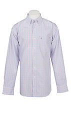 Rafter C Men's Red, White, Blue Grid Wrinkle Free Western Button Down Shirt