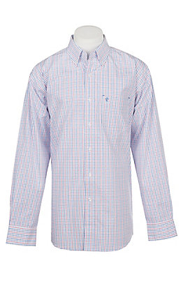 Rafter C Men's Red White Blue Grid Wrinkle Free Western Button Down Shirt
