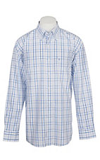 Rafter C Men's Wrinkle Free Blue Plaid Long Sleeve Western Shirt