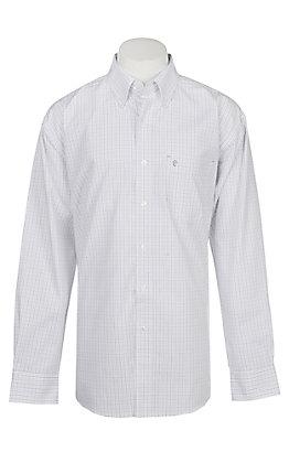 Rafter C Men's Wrinkle Free Black and Grey Grid Long Sleeve Western Shirt