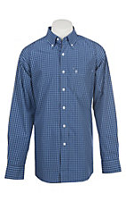 Rafter C Men's Wrinkle Free Blue and Navy Grid Plaid Western Button Down Shirt