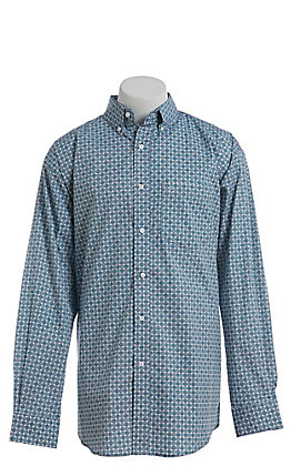 Rafter C ProFlex Stretch Men's White With Teal Medallion Print Long Sleeve Button Down Western Shirt