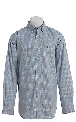 Rafter C Men's Wrinkle Free Light Blue With Navy Geo Print Western Button Down Shirt