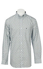 Rafter C Men's Wrinkle Free Light Blue Medallion Long Sleeve Western Shirt