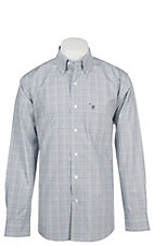 Rafter C Men's Wrinkle Free Grey Windowpane Long Sleeve Western Shirt