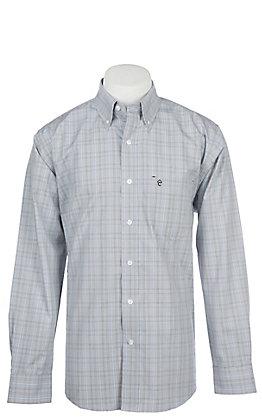 Rafter C Men's Wrinkle Free Grey Windowpane Long Sleeve Western Shirt