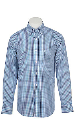 Rafter C Men's Wrinkle Free White and Navy Blue Plaid Long Sleeve Western Shirt