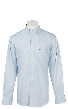 Rafter C Men's Wrinkle Free White and Turquoise Micro Windowpane Long Sleeve Western Shirt
