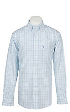 Rafter C Men's Wrinkle Free White and Turquoise Plaid Long Sleeve Western Shirt