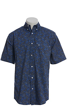 Rafter C ProFlex Performance Stretch Large Blue Paisley Print Short Sleeve Shirt