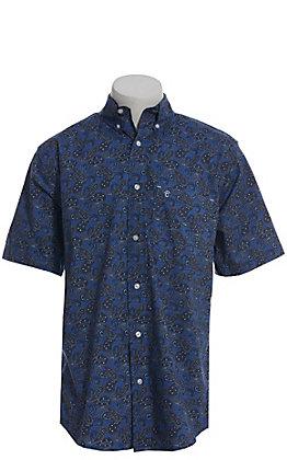 53c541ec Rafter C ProFlex Performance Stretch Large Blue Paisley Print Short Sleeve  Shirt