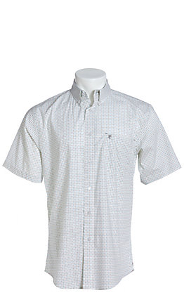 Rafter C ProFlex Stretch Men's White Geo Print Short Sleeve Western Shirt