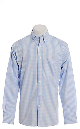 Rafter C ProFlex Stretch Men's Blue Plaid Long Sleeve Western Shirt