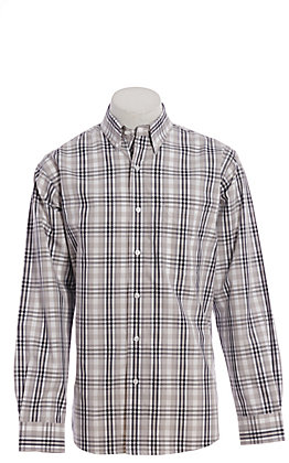 Rafter C ProFlex Stretch Men's Black And White Plaid Long Sleeve Western Shirt