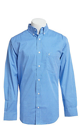 Rafter C ProFlex Stretch Men's Blue And White Geo Print Long Sleeve Button Down Western Shirt