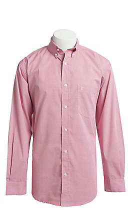 Rafter C ProFlex Stretch Men's Red Geo Print Long Sleeve Western Shirt