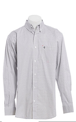 Rafter C ProFlex Stretch Men's White with Grey and Black Medallion Print Long Sleeve Western Shirt