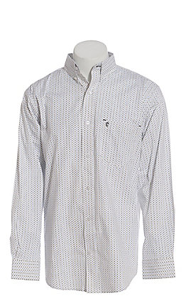 Rafter C ProFlex Performance Stretch Men's White with Black and Blue Diamond Print Long Sleeve Western Shirt