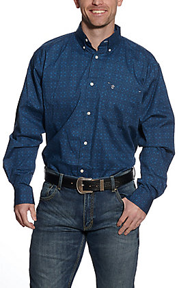 Rafter C ProFlex45 Men's Navy Paisley Print Long Sleeve Western Shirt