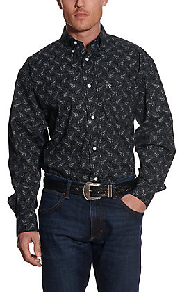 Rafter C ProFlex45 Men's Black with Grey Paisley Long Sleeve Western Shirt