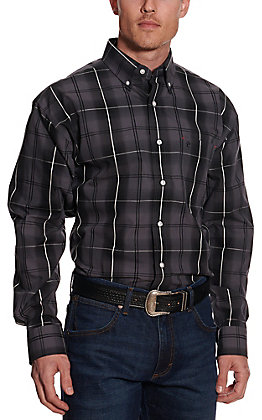 Rafter C Easy Wear 45 Men's Grey and Black Plaid Long Sleeve Western Shirt